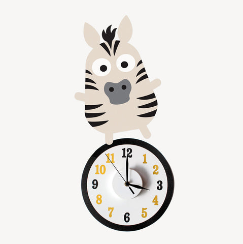 Zak the zebra wall decal clock