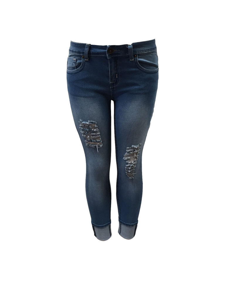 c44cf64754b Distressed Cuffed Girlfriend Jeans