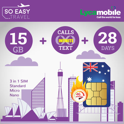 Lycamobile - So Easy Medium Bundle - 15Gb of 4G Data