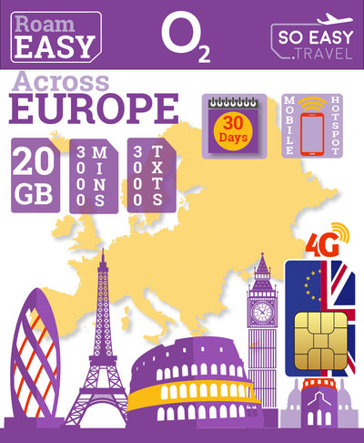 O2 UK - Big Bundle 3 - Europe Travel SIM