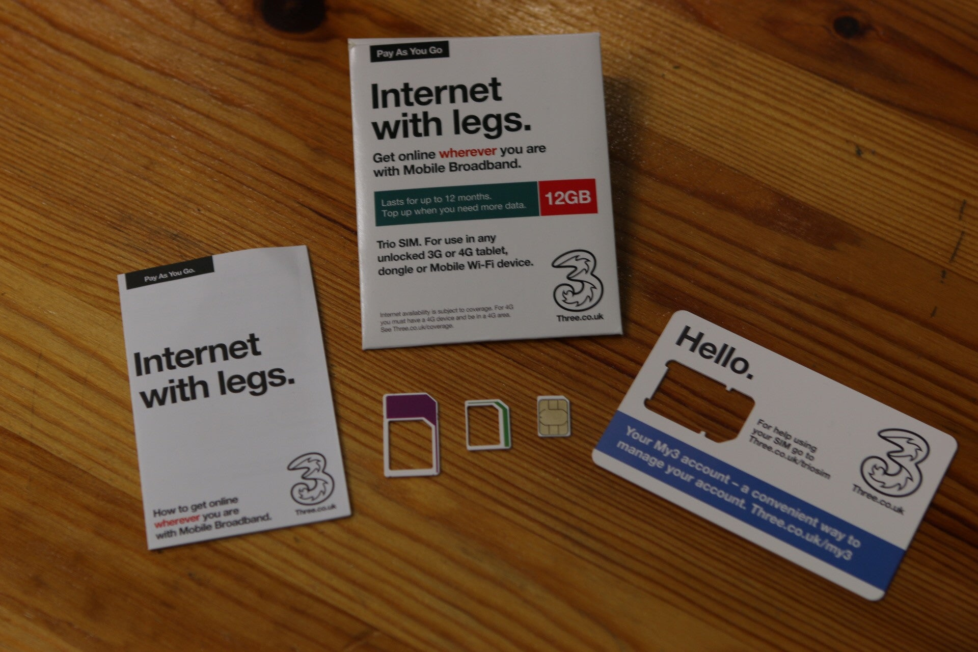 Three - Internet With Legs - 12GB Data SIM - Mobile Hot-Spot, Tablet &  Dongle Enabled
