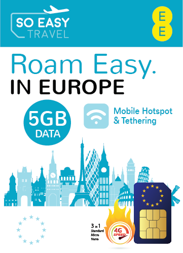 EE - 4GEE 5GB UK & Europe SIM Card - Mobile Hot-Spot and Tethering Enabled