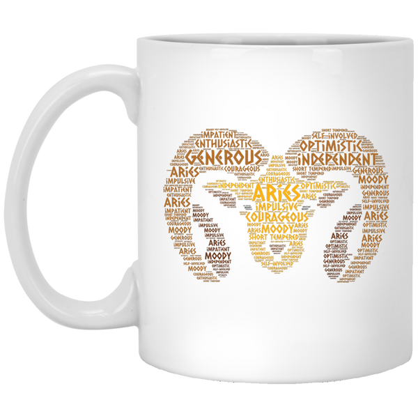 Zodiac Aries Horoscope Birth Sign Word Cloud Coffee Mug