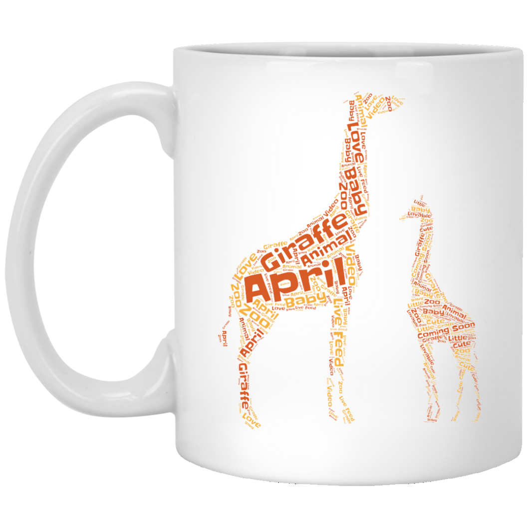 April the Giraffe and Baby Word Cloud Coffee Mug