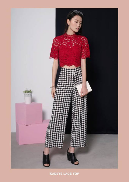 Love,Bonito Kadjye Laced crop top red XS