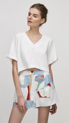 Our Second Nature Tencel Crop top in white