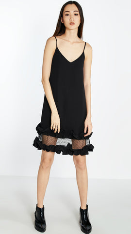Pomelo Ichika Ruffle Mini Dress in Black