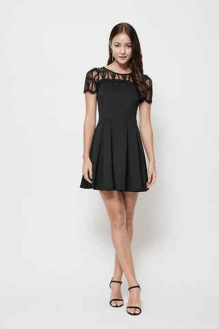 VainGloriousYou Rowan Lace Flare Dress in Black