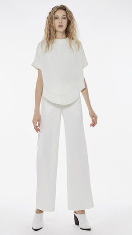 Collate The Label Curved hem crepe blouse in white