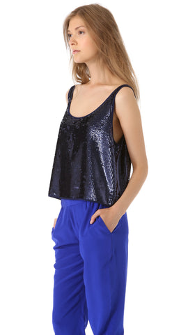 Club Monaco Mason Sequin Top in Navy