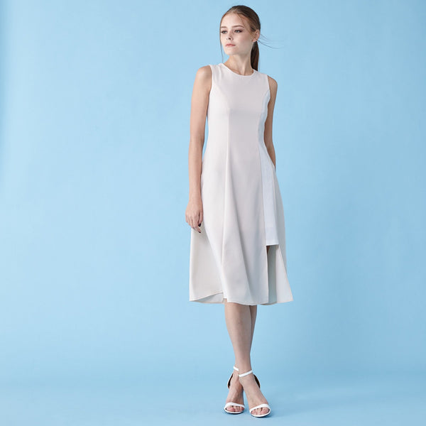 Soigne Constrast Panel midi dress in peach
