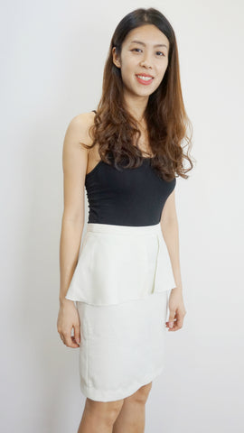 BYSI Peplum skirt in off-white