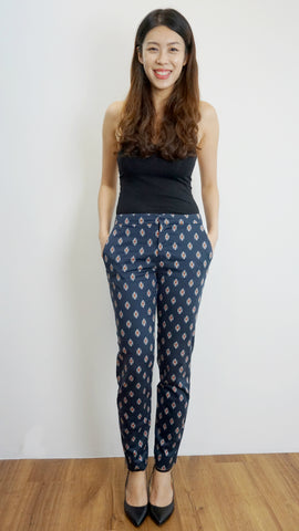 ZARA Woman Navy trousers with prints