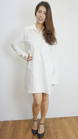 Exhibit store shirt dress with belt in off-white