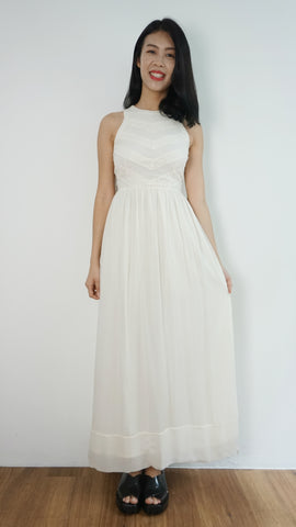 Whole9Yards Lace Panel Maxi Dress in Buttery white