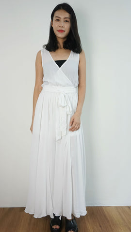 Olivaceous White maxi dress with double slit