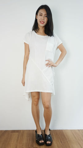 White T-shirt dress with hem details