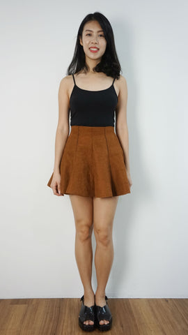 Suede mermaid hem mini skirt
