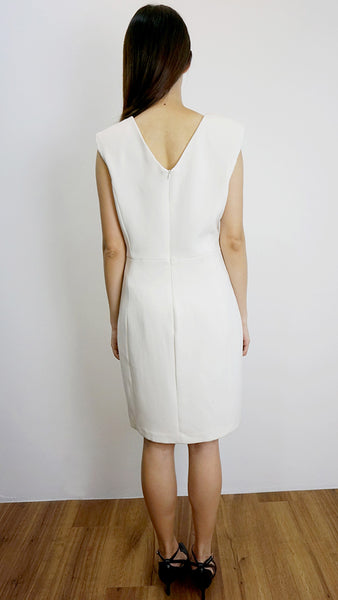 MANGO Suit off white v-neck work dress