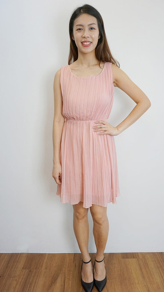 Dusty Pink Accordion pleated dress