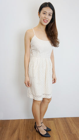 MANGO causal crochet cross back dress