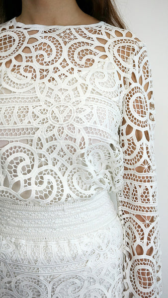 Lace 2 piece top + skirt