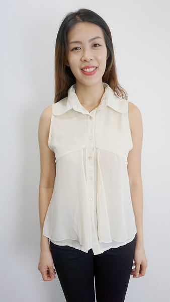Button front chiffon blouse