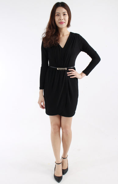 ZARA Basic V-neck dress with attached belt