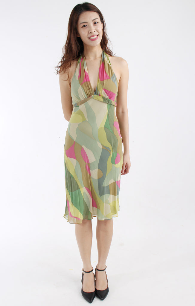 BCBG MAXAZRIA Silk printed halter dress