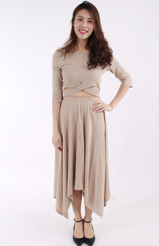 Beige maxi dress with waist cutout