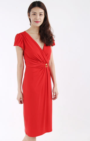 Anthea Crawford V neck pencil dress