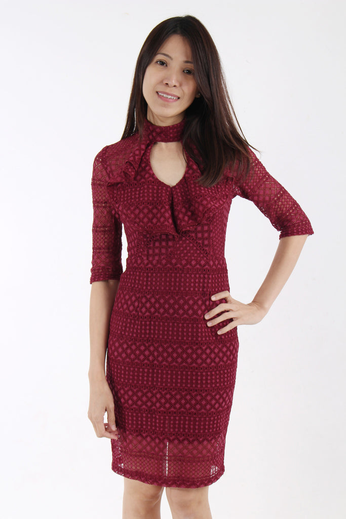 Lacy Pencil Dress in Maroon red