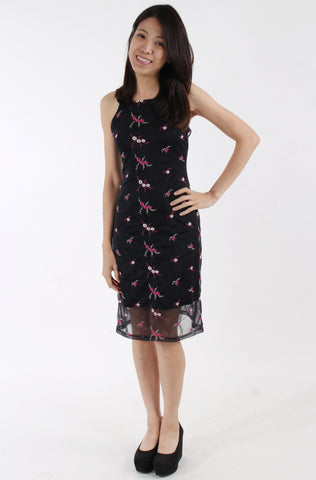 TFNC Oriental-inspired slip dress