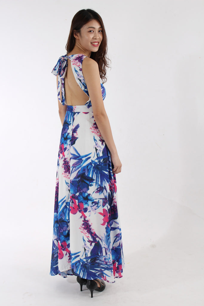 Alessandra Tropical Tie-Back Maxi Dress, in Blue Gradient Swan by VGY