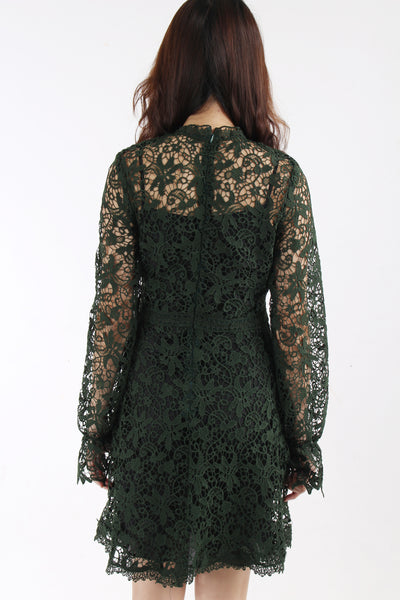 Moss green lace dress