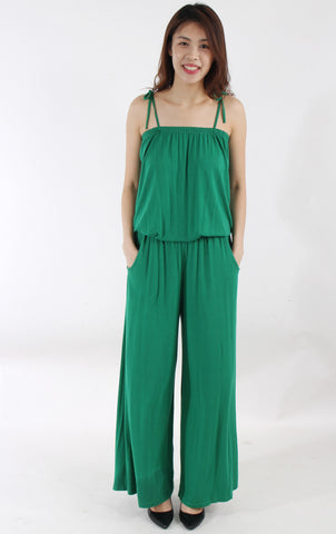 Wide-legged green romper