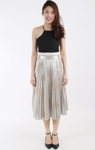 Pleated silver metallic skirt