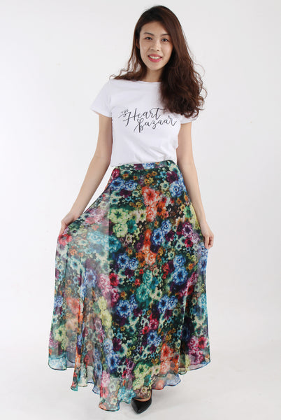 Floral swing maxi skirt B