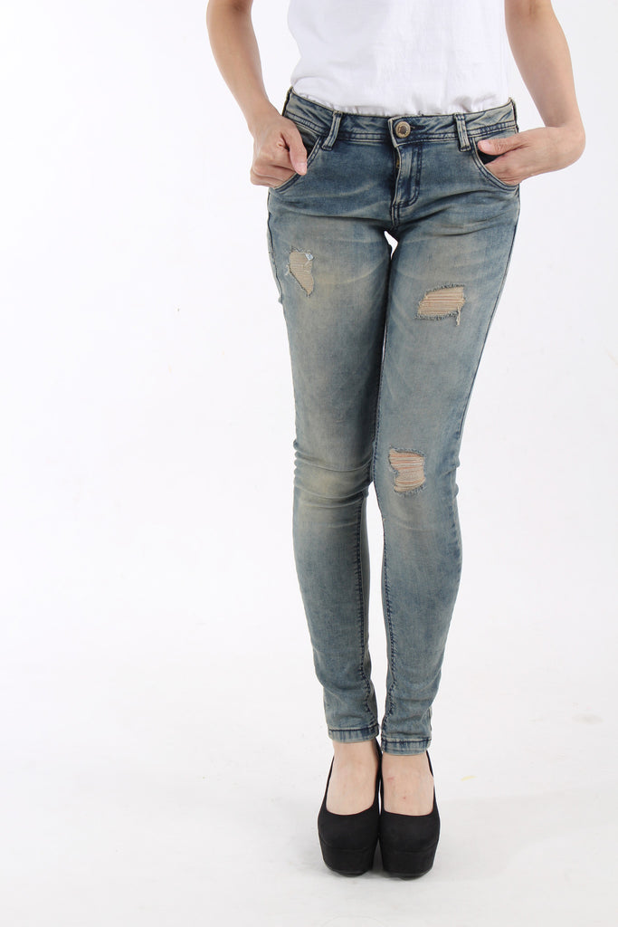 BSK by Bershka Denim Skinny low rise distressed finish jeans