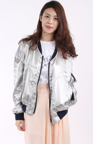 Metallic oversized bomber jacket
