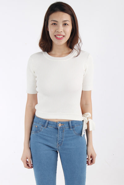 Knit top with side bow