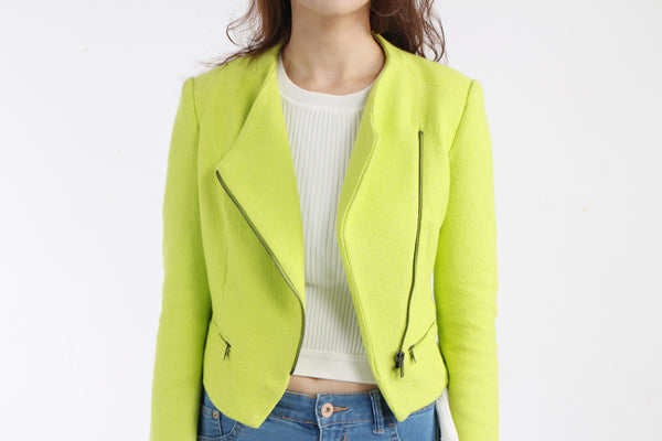 ZARA TraFaluc Lime Green cropped jacket