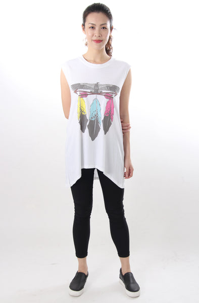 Printed oversized muscle tee