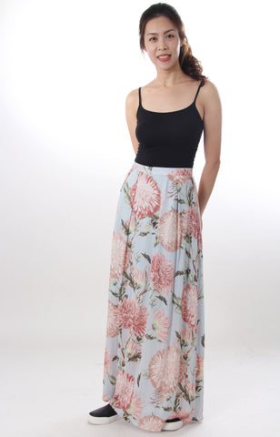Warehouse sky blue floral maxi skirt