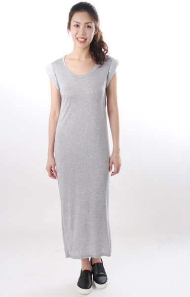 Open back tshirt dress grey