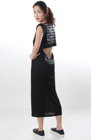 Open back tshirt dress black