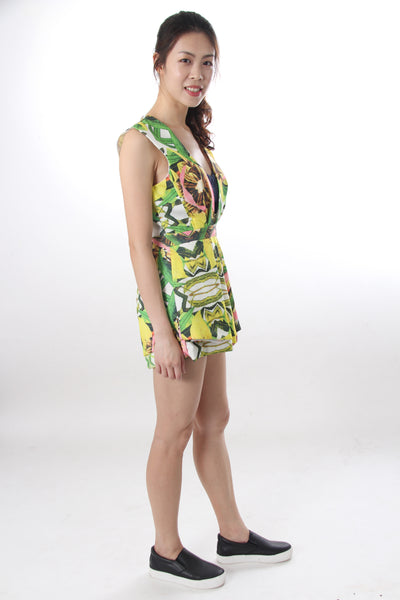 Tropical print romper with back cut out