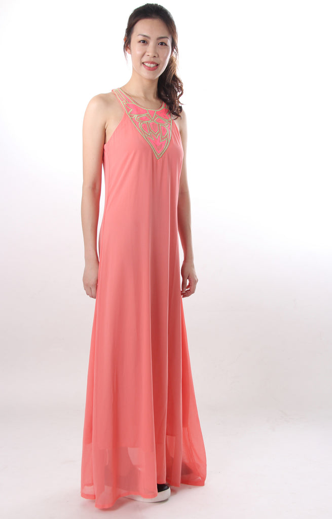 Maxi dress with neon stitching