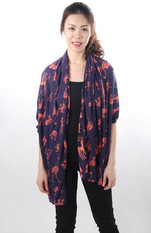 Animal print navy shawl