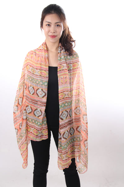 Ikat print orange shawl
